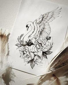 Pencil Art Drawings, Bird Drawings, Art Drawings Sketches, Tattoo Sketches, Owl Tattoo Drawings, Floral Tattoo Design, Flower Tattoo Designs, Flower Tattoos, Flower Design Drawing