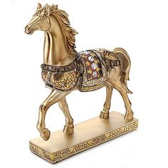 447-802 - Style at Home with Margie 9.5'' Golden Jeweled Hand-Painted Horse Figurine