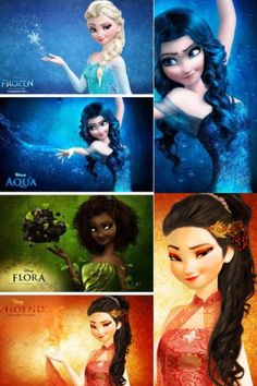 This is awesome it has Elsa in frozen, and other girls that could be her sisters with diffrent elements