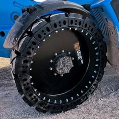 """Evolution Wheel's Instagram photo: """"Check out this close-up shot of our segmented EWRS-TH-HS hard surface tire setup on a Genie GTH-844. Each rubber segment is removable which…"""""""