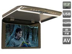 17.3 inch Flip down (roof mount) 1080P monitor with USB and HDMI, AVIS AVS1750MPP(Metal Grey)