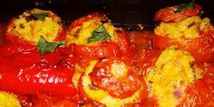 Roșii umplute cu legume și cușcuș  (după 1 an) Quinoa, Curry, Stuffed Peppers, Vegetables, Food, Curries, Veggies, Vegetable Recipes, Meals