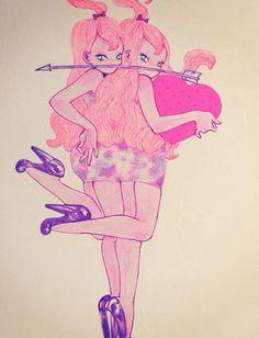 #eimi Girl Cartoon, Pop Art, Twin, Artsy, Girly, Random, Illustration, Inspiration, Design