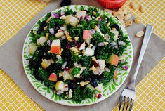 Luann's Kale Salad is a crunchy, sweet, savory and delicious way to eat your greens! #glutenfree | iowagirleats.com