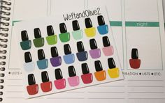 21 Multi Colored Nail Polish Stickers / Perfect for Erin Condren Life Planners!