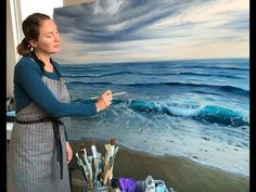 """How to Paint the Ocean in Oils - Large Seascape Painting """"Beginnings"""" by Eva Volf Acrilic Paintings, Seascape Paintings, Landscape Paintings, Oil Painting For Beginners, Oil Painting Techniques, Painting Videos, Bob Ross Paintings, Water Art, Beach Cottages"""