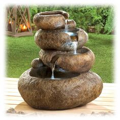Multi tiered Faux Stone 23 Inch Lighted Pouring Outdoor Fountain