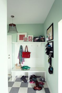 Love the bench and coat rack!!! But what I absolutely adore is the lighting pendent:) Love it!!!