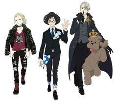 Yurio,Yuri,Victor e Makkachin