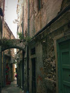 Street in Corfu Town Hillside Village, Corfu Town, Corfu Island, Visit Greece, Corfu Greece, Cypress Trees, Greek Islands, Beautiful Islands, Santorini