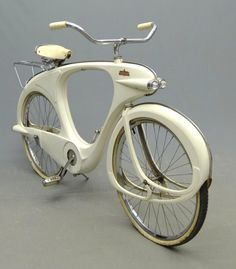 """C. 1960 Bowden """"Spacelander"""" bicycle, white fiberglass, manufactured by, Bomard Industries."""