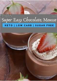 Description: I created an amazing and incredibly easy chocolate mousse! The secret ingredient creates a whipped mousse that's secretly healthy. I am quite sure that you can never be able to guess that secret ingredient! Cheesecake Mousse Recipe, Chocolate Mousse Cheesecake, Chocolate Mousse Recipe, Cheesecake Recipes, Keto Friendly Fruit, Low Carb Deserts, Low Carb Drinks, Chocolate Shavings, Low Carb Recipes