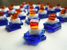 Cute little stacks from glassygoodies.blogspot.com Love these colours