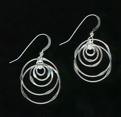 Dangle Sterling Silver Earrings Chain Link Circles. $18.95, via Etsy.