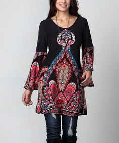 Look at this Charcoal Paisley Bell-Sleeve Tunic - Plus on #zulily today!
