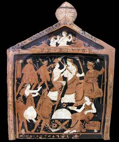 A votive plaque known as the Ninnion Tablet depicting elements of the Eleusinian Mysteries
