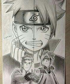 Naruto and Boruto - Fan art Naruto Vs Sasuke, Anime Naruto, Fan Art Naruto, Manga Anime, Anime Fan Art, Anime Ninja, Naruto Drawings, Naruto Sketch, Naruto Pictures