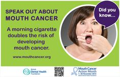 Mouth Cancer Action Month - Fact Card - Did you know? A morning cigarette doubles the risk of developing mouth cancer. http://www.mouthcancer.org/page/risk-factors #MCAM #Smoking #DidYouKnow #FactCard