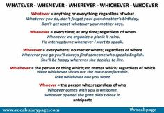 Whatever, Whenever, Wherever, Whichever, Whoever