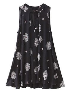 Black Tribe Pattern Sleeveless Swing Dress