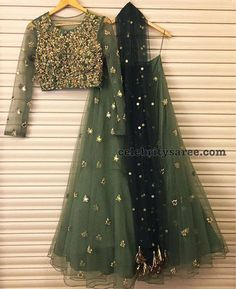 Lovely olive green and gold net heavy embroidered lehenga with long sleeve choli Bhumika sharma # lehenga # Indian wear # Indian fashion Bridal Lehenga, Lehenga Choli, Anarkali, Net Lehenga, Indian Lehenga, Sharara, Lengha Choli Designer, Plain Lehenga, Simple Lehenga