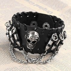 Beautiful Skull Head And Bullets Leather Bracelet Lenght: 23 cm (approx)