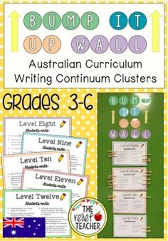 *Bump it Up Wall* Aligned with Australian Curriculum Writing Continuum Clusters *** This is now available in a K-6 Literacy MEGA Bundle. Save $5 when purchasing as a bundle! Bump it Up Wall *Reading, Comprehension and Writing* MEGA Bundle K-6