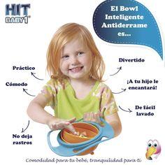 Cualidades del Bowl Inteligente Antiderrame Lo práctico es mejor. Lo cómodo es mejor. Que tu bebé pueda comer sin dejar rastros en ninguna parte de la casa es mejor. Que tu bebé pueda comer mientras se divierte es mejor. Lo fácil de usar es mejor. De fácil lavado es mejor.  Que a tu hijo le encantará es mejor. #alimentos #niños #niñas #alimentación #bowl #diversión