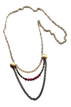 Everyday Mix Chain & Fuschia Layering Necklace