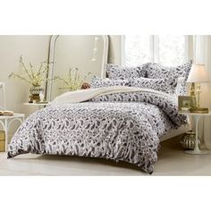 Paisley-Duvet-Cover-Set-Cherry-Hill-Collection-Black-or-Taupe-5-or-6-Pcs