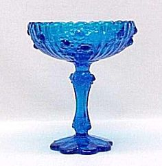 Fenton Art Glass | Fenton Art Glass Roses Colonial Blue Compote Vintage (Fenton Glass) at ...
