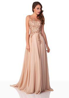 VIP Dress Chiffon Abendkleid / langes Ballkleid / Festkleid in Beige und Grün: Amazon.de: Bekleidung