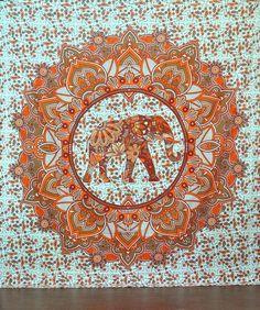 Orange Tribal Design Elephant Boho Bohemian Bedspread Beach Blanket Wall Tapestry - GoGetGlam