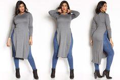 "#PlusModelMag Plus Fashion Find: ""Small Talk"" Double Slit Top at Rebdolls #PLUSmodelmag"