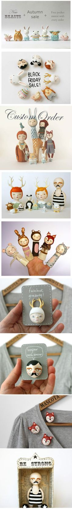 Dolls, brooches, finger puppets... by Sweet Bestiary http://www.sweetbestiary.com/