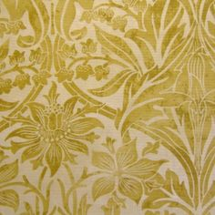 bluebell fabric - Morris and company in gold (detail) - (curtain-up)