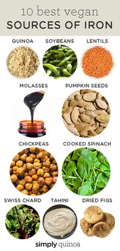 A list of the 10 best vegan sources of iron that don't involve eating meat or dairy products! This list is full of healthy plant-based, iron rich foods and ingredients in case you have an iron deficiency! Foods With Iron, Foods High In Iron, Foods That Have Iron, Recipes High In Iron, Veggies High In Iron, Vegan Nutrition, Health And Nutrition, Vegan Recipes Easy, Whole Food Recipes