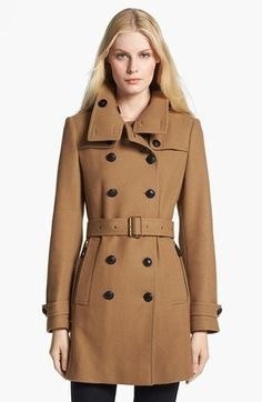 great fitted military trench in dark camel Burberry Brit 'Daylesmoore' Wool Blend Trench Coat | Nordstrom