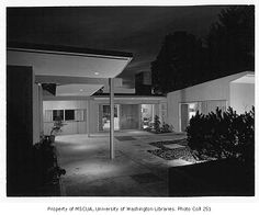 Scott residence exterior showing entrance, Bellevue, 1956