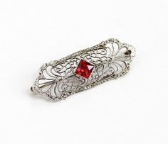 Antique 14K White Gold Created Ruby Filigree Pin - Vintage 1920s Art Deco Era Red Gem Fine Bar Pin Brooch Jewelry Hallmarked Diana Krementz by Maejean Vintage on Etsy