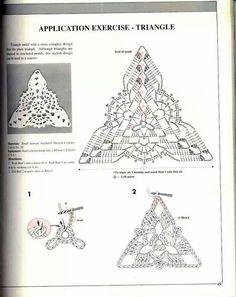 Журнал: Anchor Crochet Lace Through Pictures Crochet Doily Diagram, Crochet Triangle, Crochet Motif, Crochet Doilies, Crochet Lace, Crochet Stitches, Crochet Bikini, Crochet Patterns, Crochet Blocks