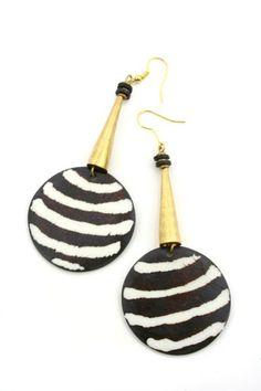 Cow Bone & Brass Earrings | Fair Trade Beaded African Jewelry