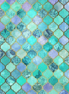 Cool Jade & Icy Mint Decorative Moroccan Tile Pattern Art Print by Micklyn | Society6 (Cool Art Ideas)