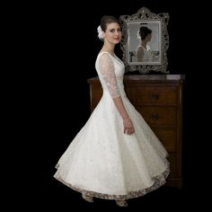 Timeless Chic Ella - Vintage style tea length wedding dress