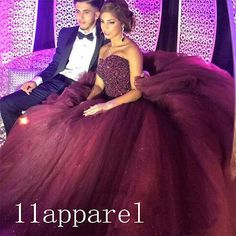 Sparkle-Burgundy-Quinceanera-Dress-Ball-Gown-Beading-Prom-Evening-Formal-Gown