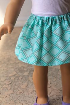 Make this stylish skirt for your American Girl Doll! Skirt tutorial on our blog, Doll Delight!
