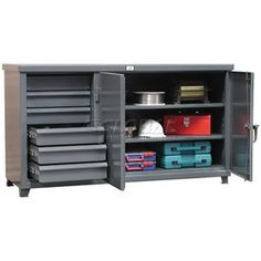 Cabinet Workbench with Half Width Drawers - Cabinet workbench with 6 drawers and compartment on the right that is lockable with a padlock using our locking device. Storage Cabinets, Storage Drawers, Storage Spaces, Locker Storage, Workbench With Drawers, Wall Safe, Shoe Rack, Bookcase, Shelves