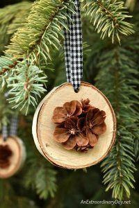 Rustic Handmade Christmas Ornament for the Tree - Birch Wood Slices Display Pretty Hand Cut Pine Cone Flowers