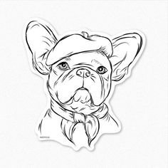 Pierre French Bulldog Decal Sticker Dog Lover Art by Inkopious