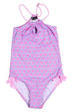 Stella Cove Heart Print One-Piece Swimsuit (Toddler Girls & Little Girls)